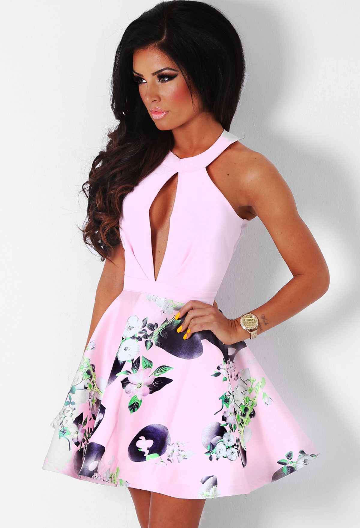 9801544b Cholena Pink Floral Skater Dress | Pink Boutique | ımm dress | Pinterest