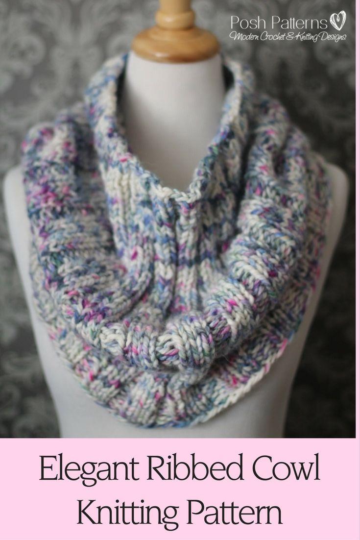 Knitting Pattern - Easy Knitting Pattern - Elegant Ribbed Knit Cowl ...