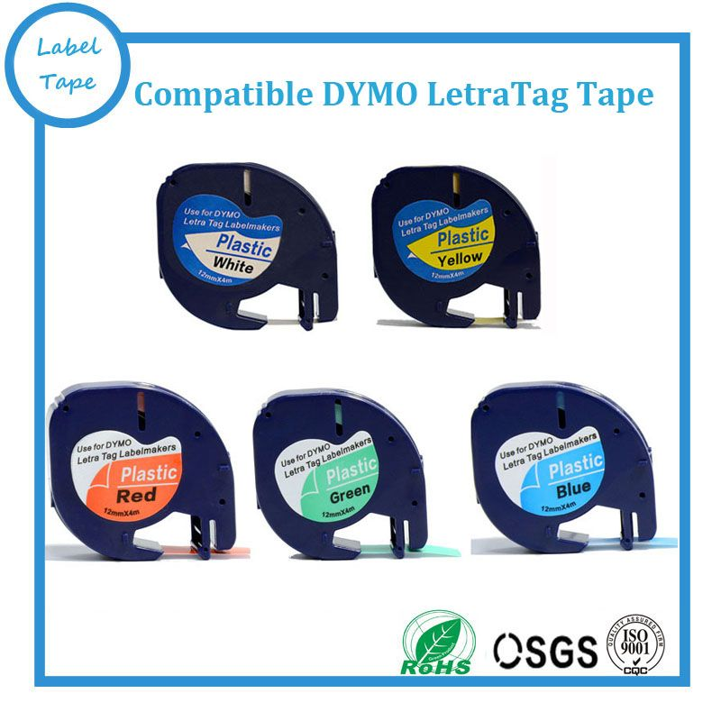 5pk Mixed Colors Compatible Dymo Letratag Label Tape 91201 91202 91203 91204 91205 White Yellow