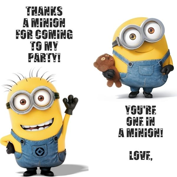 Minion Party Thank You Card Free Printable P A R T Y 2