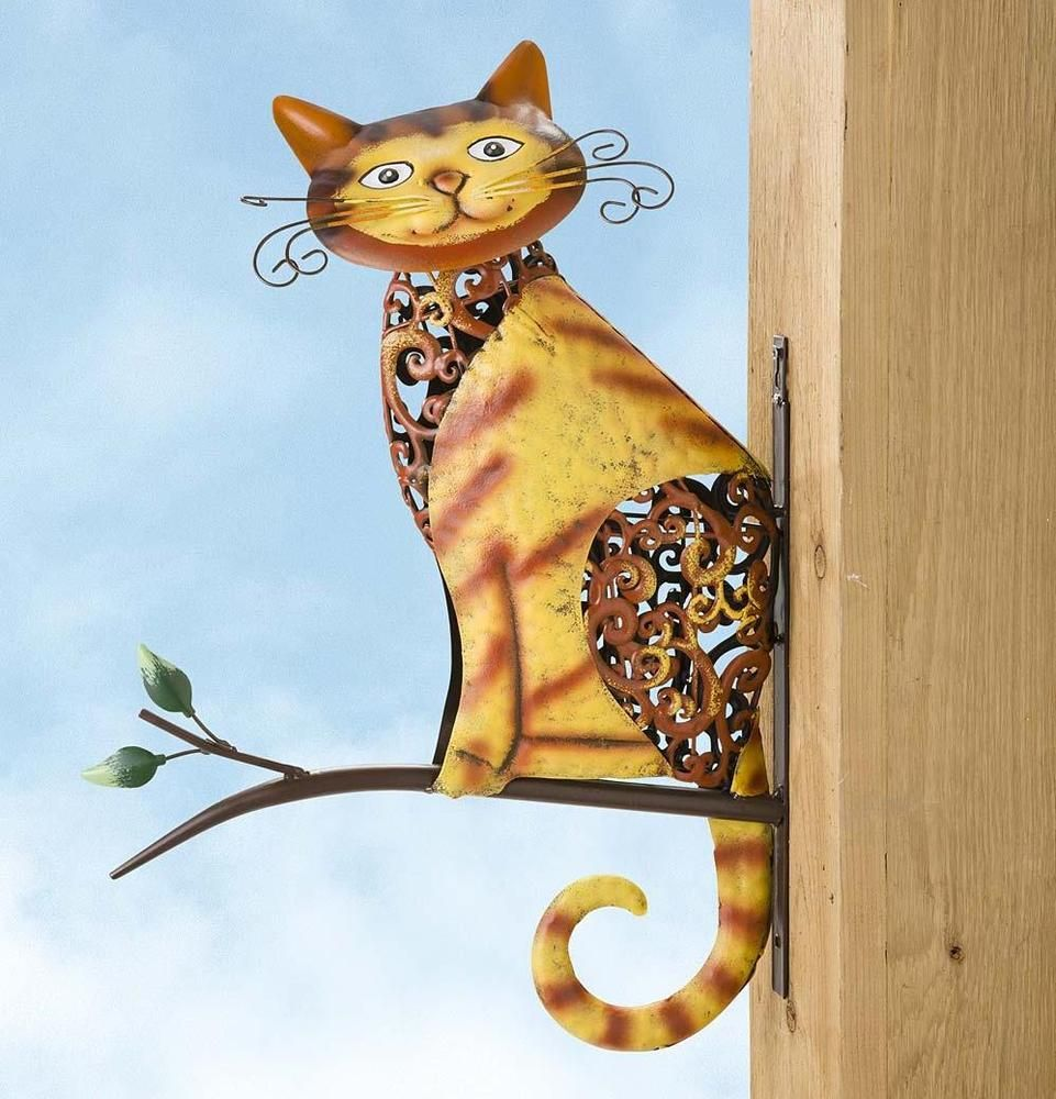 Outdoor Metal Wall Decor Art Sculpture Cat On A Branch Patio