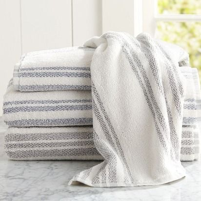 Evan Stripe Bath Towel Gray From Pottery Barn Beautiful - Striped bath towels for small bathroom ideas