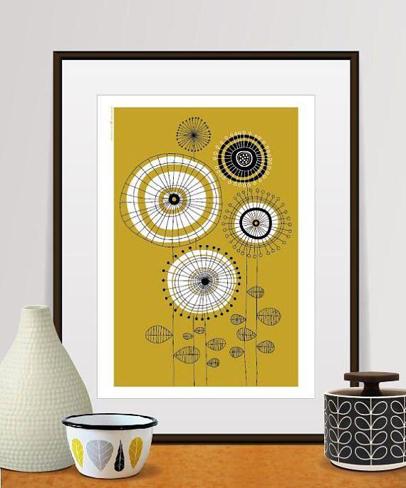 mid century modern, wall art, wall decor, flowers print ...