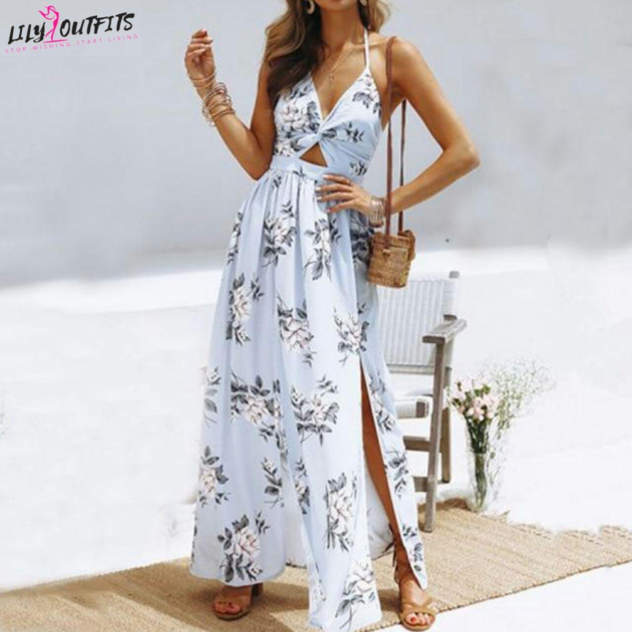 Long Elegant Dress Maxi Dress Halter Dress Summer Chiffon Summer Dress [ 1280 x 1280 Pixel ]
