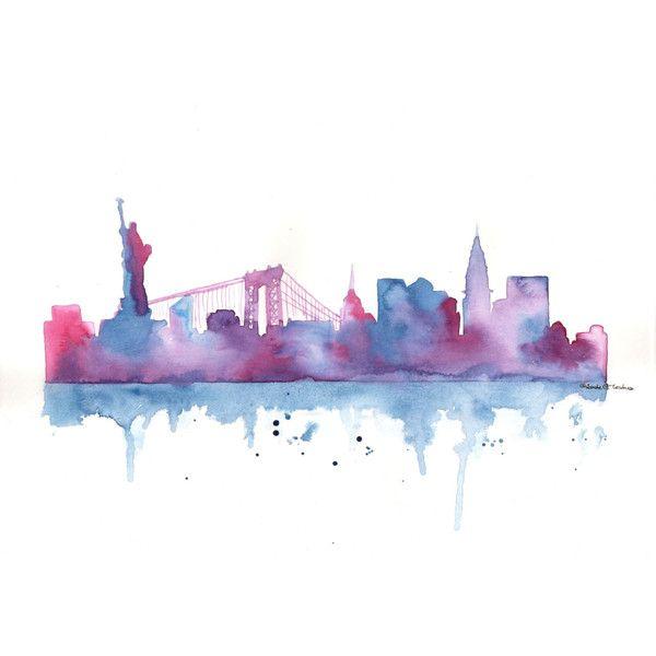 Original Watercolor Painting New York City Skyline Silhouette