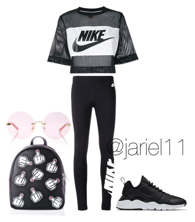 """""""On some chill sh*t'"""" by jariel11 on Polyvore featuring NIKE, Current Mood and Karen Walker"""