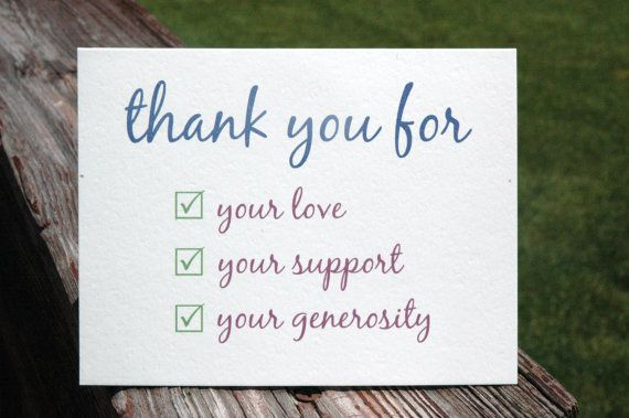 thank you for your love support generosity check list thank