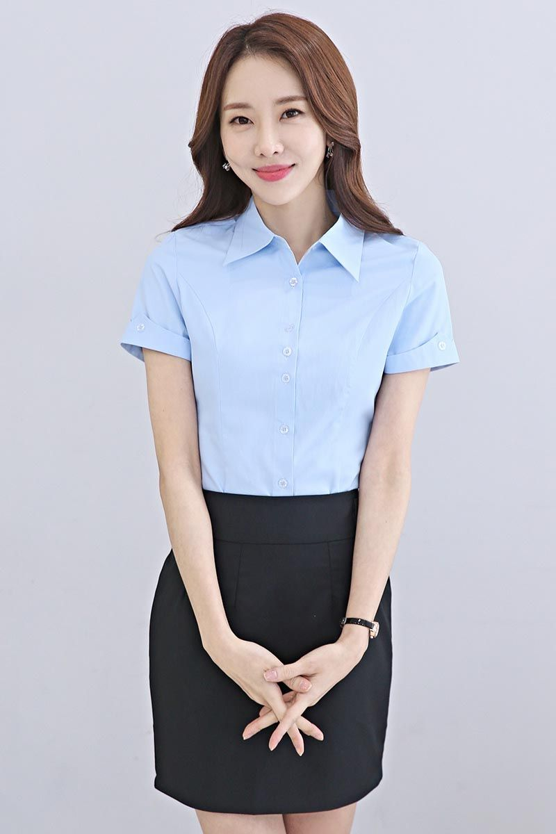 Blue Simple Plain Color Rolled Short Sleeve Shirt Rolled Shorts How To Roll Sleeves Women