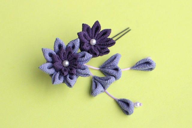 初夏の風 小花のミニかんざし 紫 つまみ細工 - あんみつゆっか