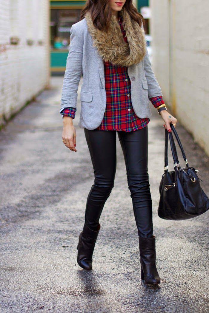 fur scarf | plaid shirt | leather pants