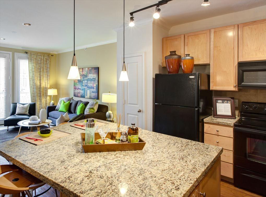 Model kitchen at AMLI 2121, a luxury apartment community