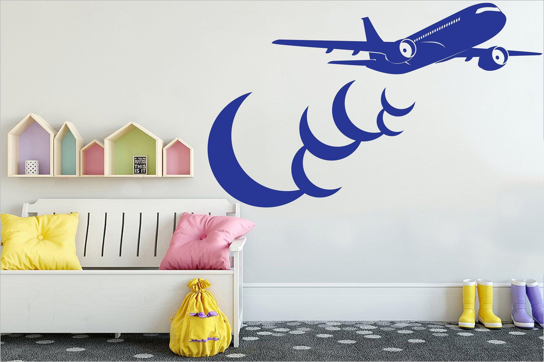 Airplane Crescient Moon Decor Airplane Wall Decal Aviation Etsy Airplanes Wall Decals Aviation Room Decor Nursery Wall Decals [ 2000 x 3000 Pixel ]