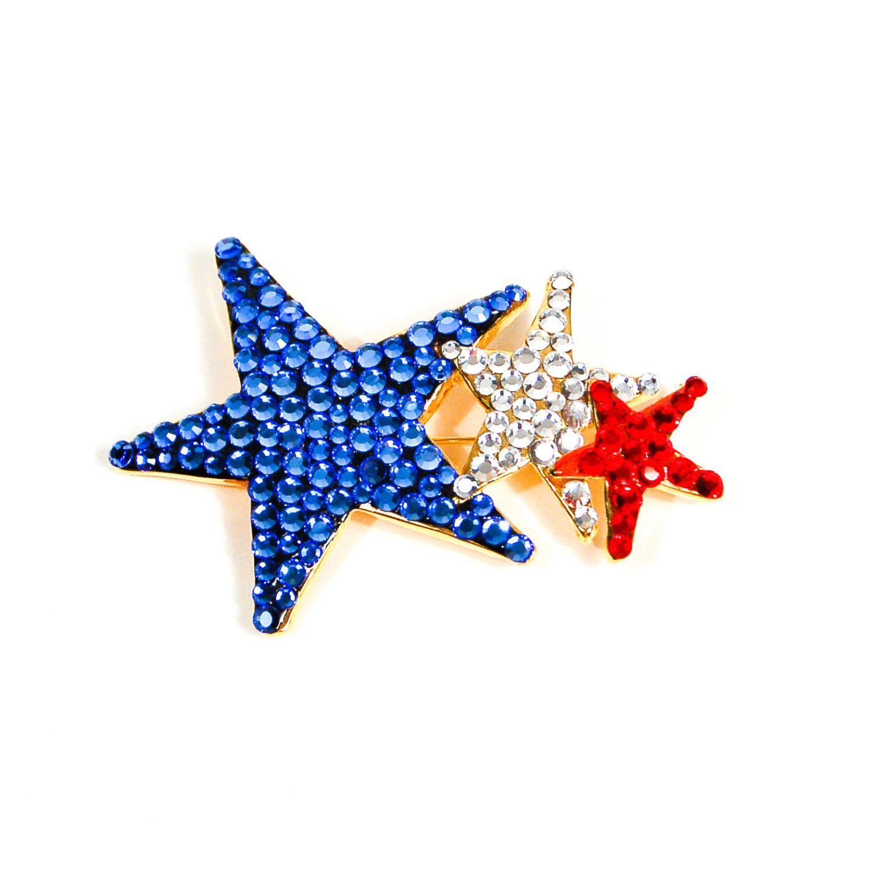 Red, White, Blue Rhinestone Star Brooch