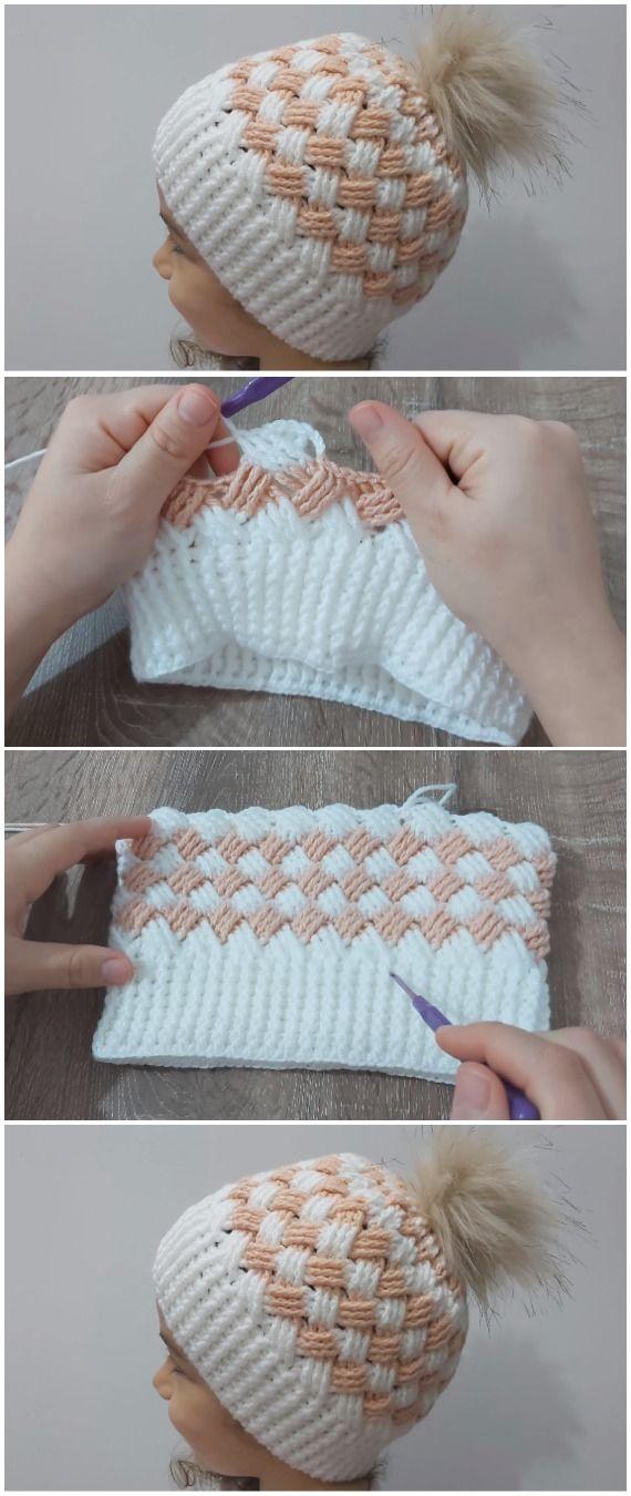 Crochet Beanie Hat Basket Weave Stitch #crochet