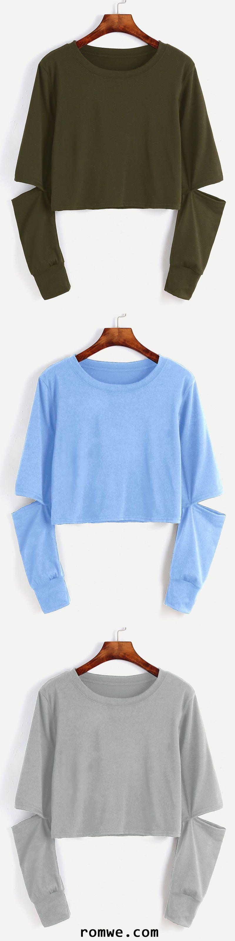 blue cut out sleeve crop sweatshirt sch ne klamotten. Black Bedroom Furniture Sets. Home Design Ideas