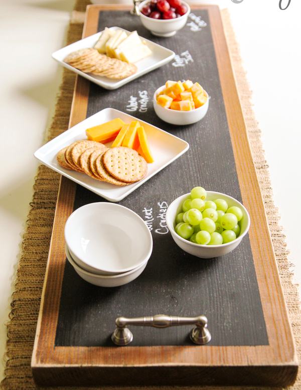 Easy DIY Chalkboard Tray. & How to Make a Chalkboard ~ Serving Tray   Diy chalkboard Cheese ...