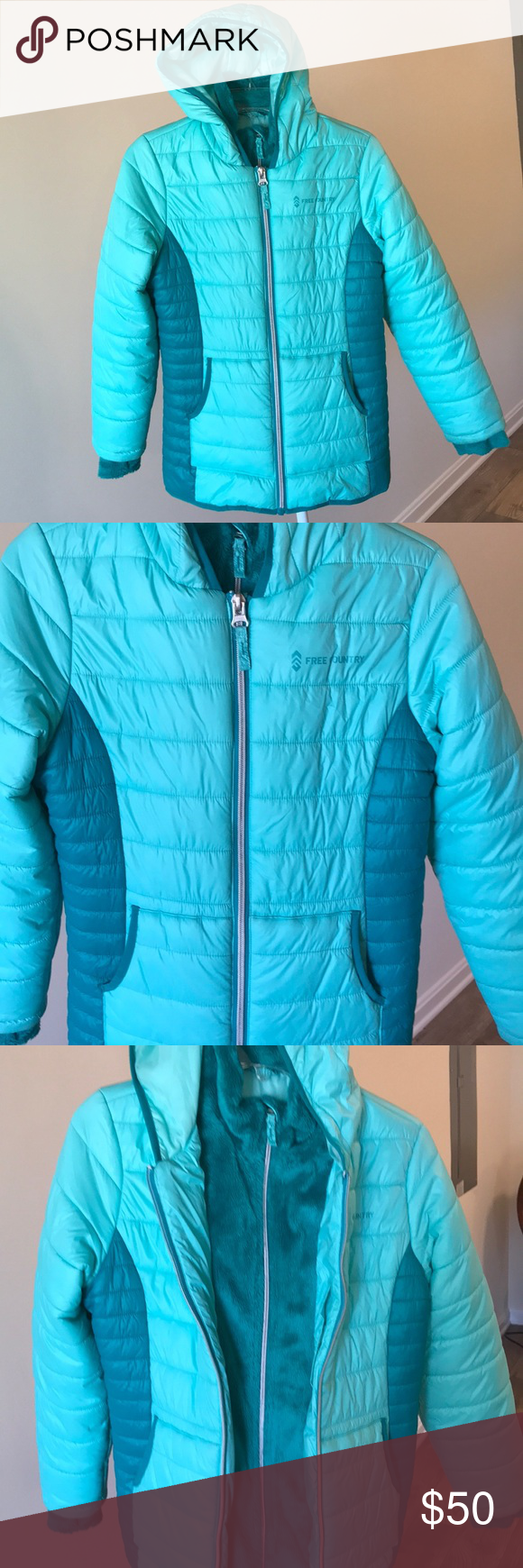 Girls Free Country Hooded Puffer Coat Warm And Cozy Puffer Jacket With Attached Hood Storm Placket And Chin Guard Fle Clothes Design Puffer Coat Plus Fashion [ 1740 x 580 Pixel ]