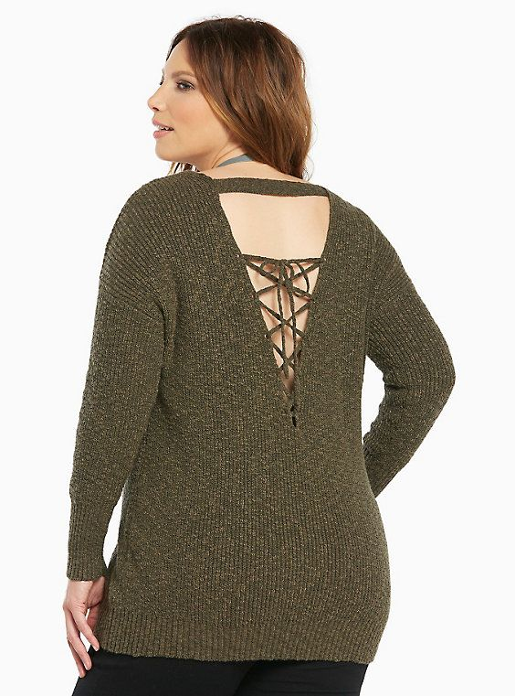 Knit Lace Up Back Sweater in 2019  ff9e2f04b