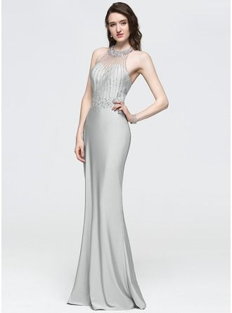 276ac2628c Sheath Column Halter Floor-Length Jersey Prom Dress With Beading Sequins