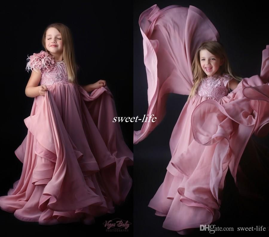 Vintage Wedding Flower Girl Dresses with Lace Feather Pink Chiffon ...