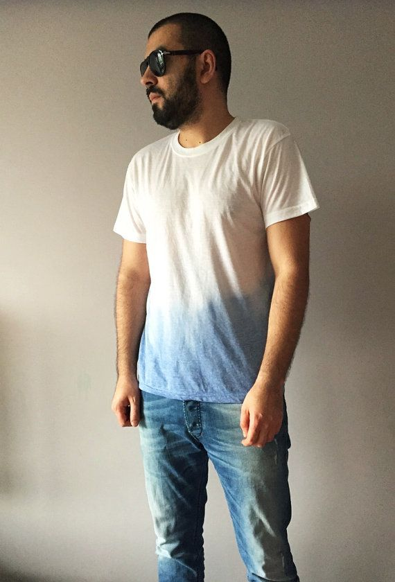 fe9c0090290 Mens Ombre Blue T-shirt Large Tie Dye Denim Blue Top One Of A Kind ...
