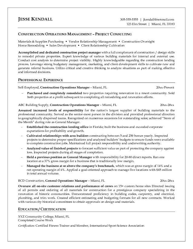 resumes for excavators Resume Samples Construction resumes - sample operations manager resume