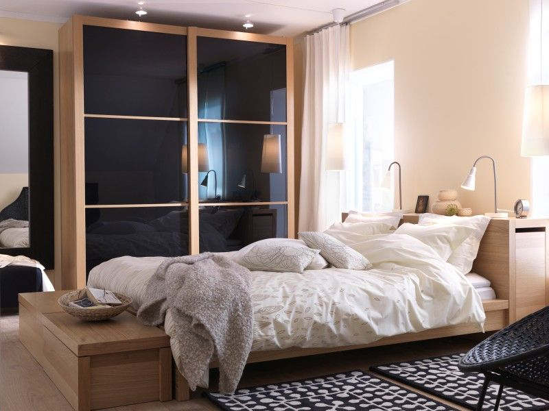 I Have This Ikea Malm Bed In Oak Color I Plan To Order The Pax Wardrobe Similar To This With Gray Sliding Doors Because You Can T Get Black Anymore