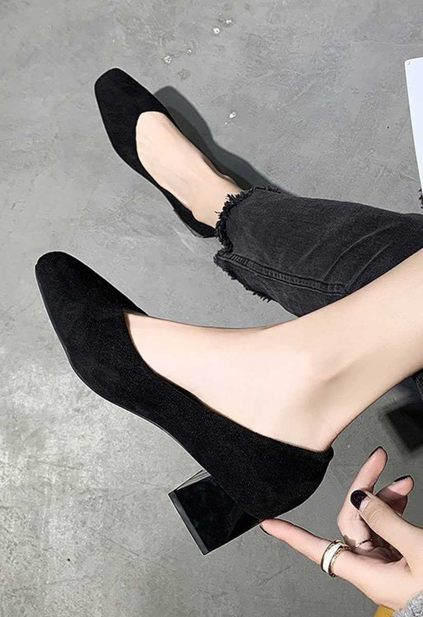 Black Suede Slip On Low Heel Dress Shoe Black Shoes Heels Black Heels Low Low Heel Dress Shoes [ 1200 x 824 Pixel ]