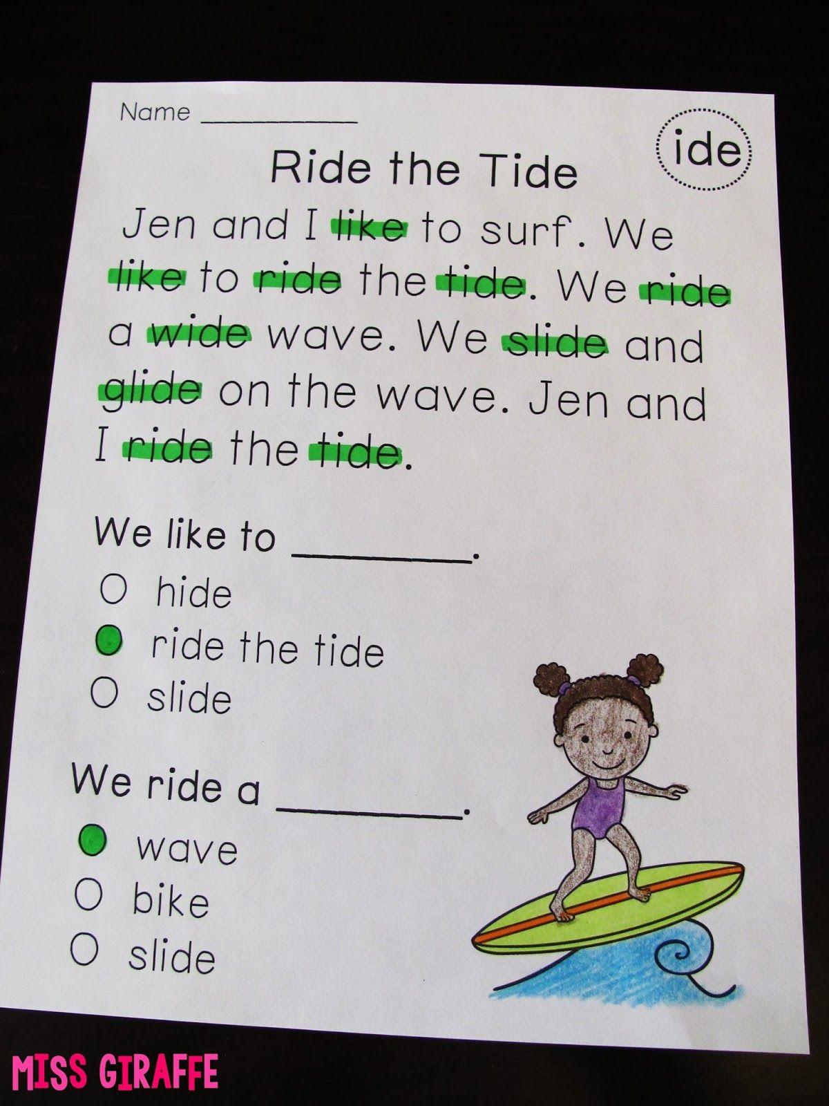 Miss Giraffe S Class Phonics Fluency Notebooks