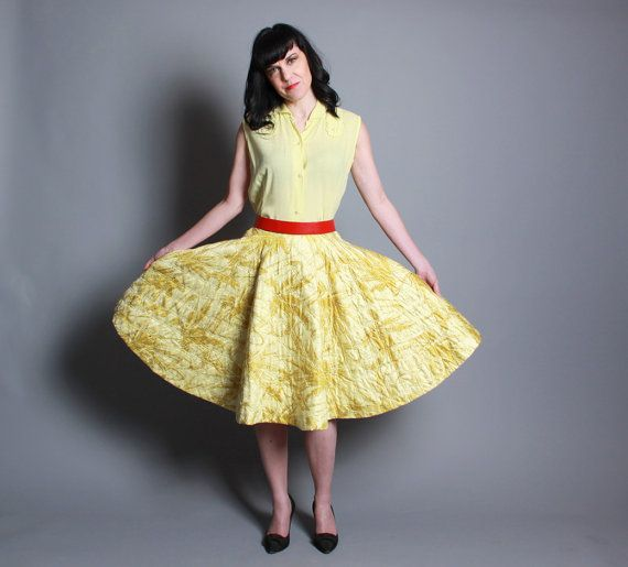 vintage 50s rhinestone studded quilted chartreuse full circle skirt #rockabillystyle