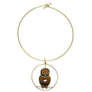 Vintage Seaman Schepps 14k Gold Tiger's Eye Owl Pendant Necklace @ oakgem.com