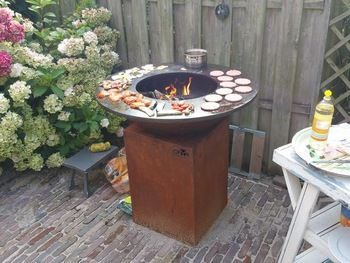 Corten Steel / Stainless Steel Fire Pit BBQ Grill Table