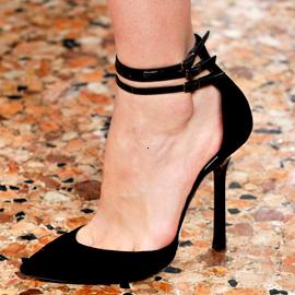 Emilio Pucci - multi-strap pump in black velvet, $650 (available here: http://www.dsw.com/shoe/emilio+pucci+velvet+pump?prodId=255750, and here: http://www.yoox.com/us/44426080LM/item?dept=women=11227#cod10=44426080LM=)