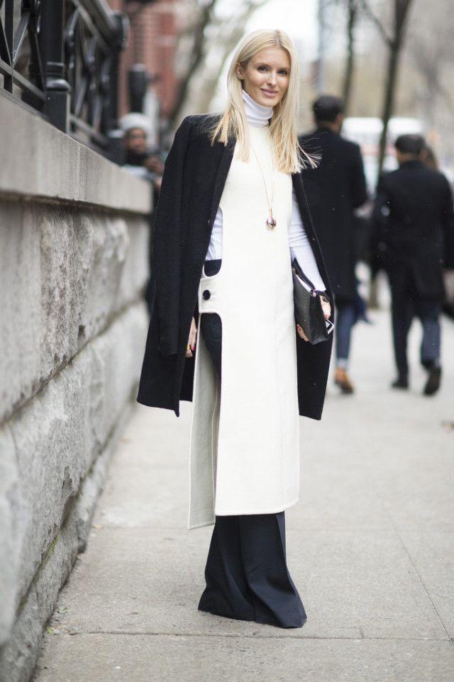 tunic-dress over pants-white turtleneck-black coat-black flares ...