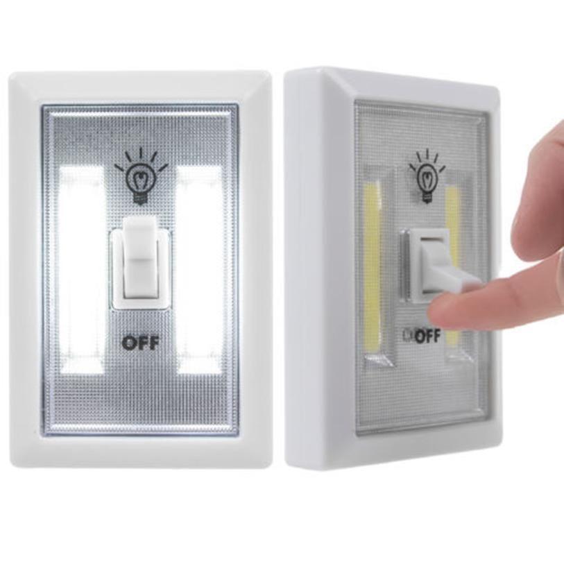 2017 New Cob Led Wall Lighted Switch Wireless Closet Night Light Multi Use Self Stick Led Wall Lights Night Light Led Night Light