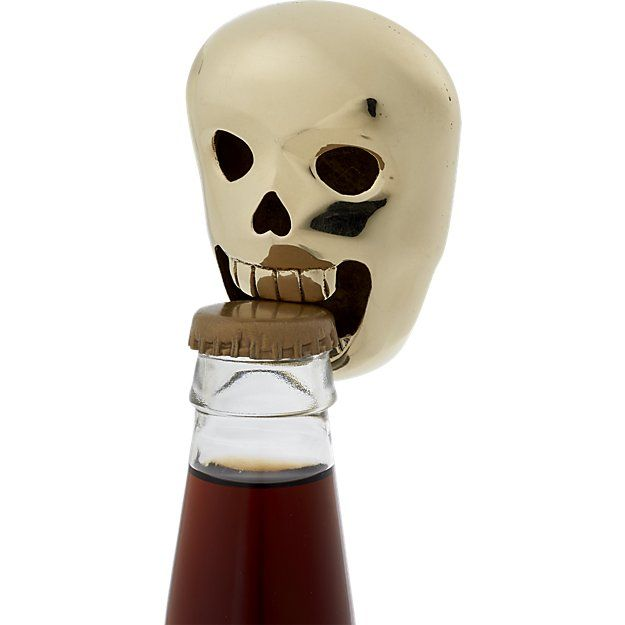 """Free Shipping.  Shop skully bottle opener.   Handmade, grinning ghoul makes a grand gift in a """"one for them, one for you"""" kinda way.  Heavy-in-the-hand and crafted with un-lifelike details, this creepy cranium will develop a rich patina over time."""