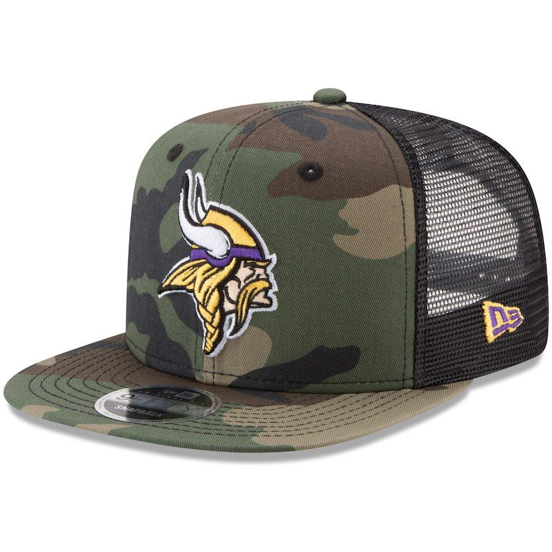 6764eaae86a Minnesota Vikings New Era Trucker 9FIFTY Snapback Adjustable Hat - Woodland  Camo Black