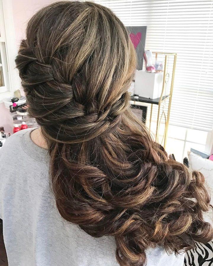 half up half down wedding hairstyle with braids #hairstyles #weddinghair #braids