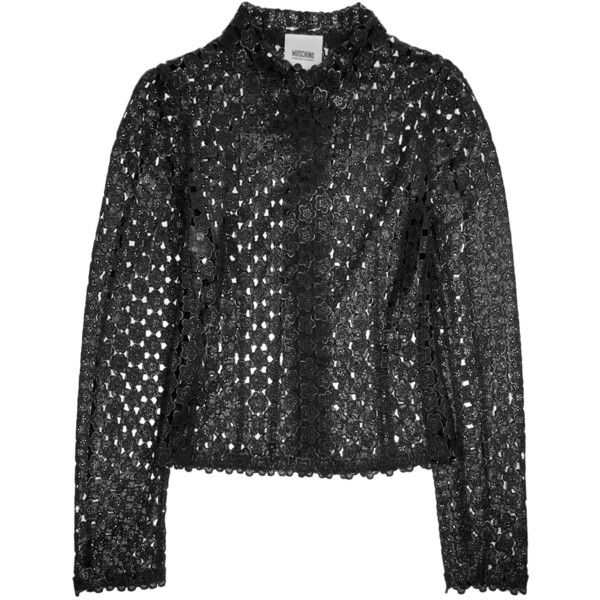 Moschino Cheap and Chic Floral macramé lace jacket ($1,150) via Polyvore