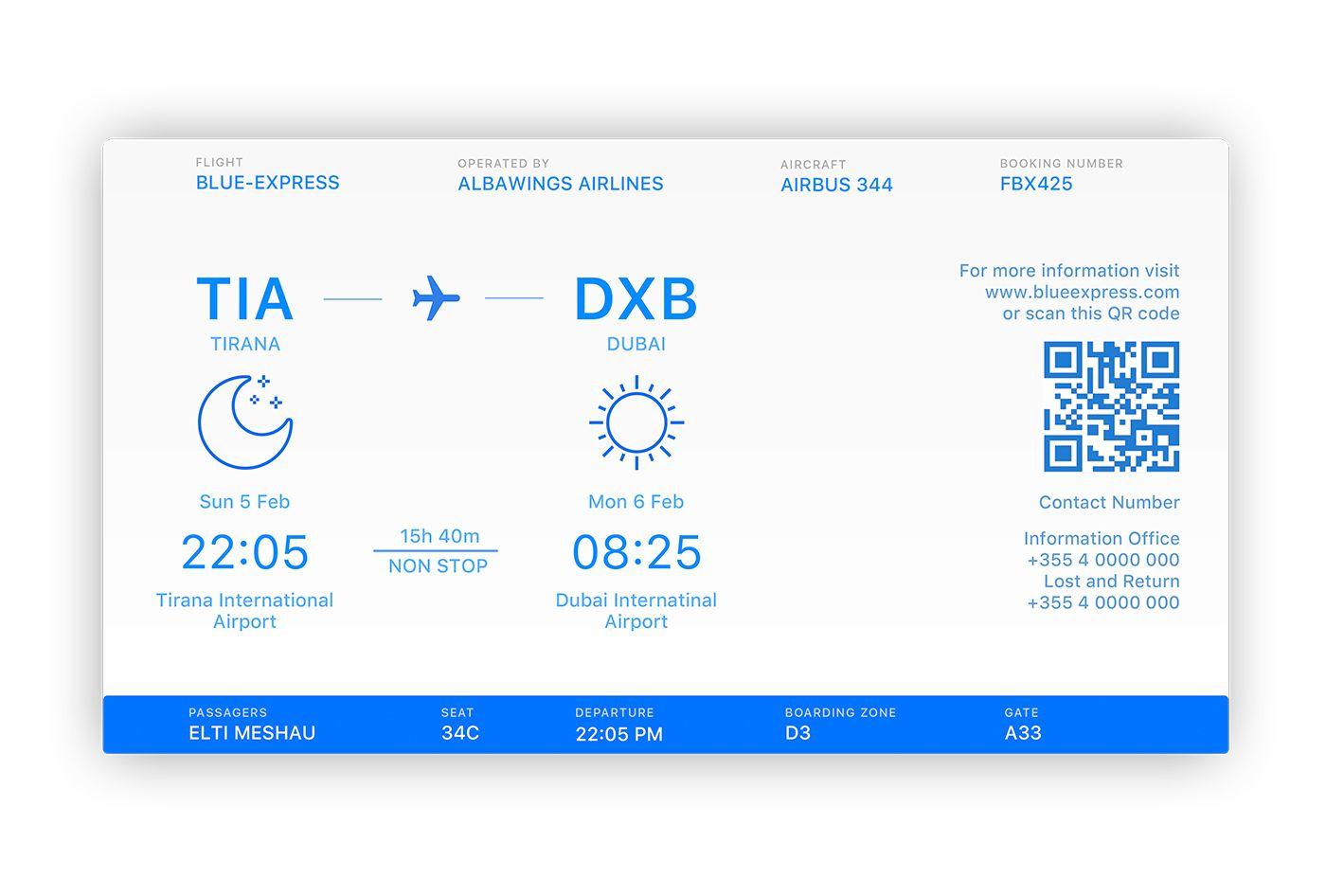 Flight ticket information template