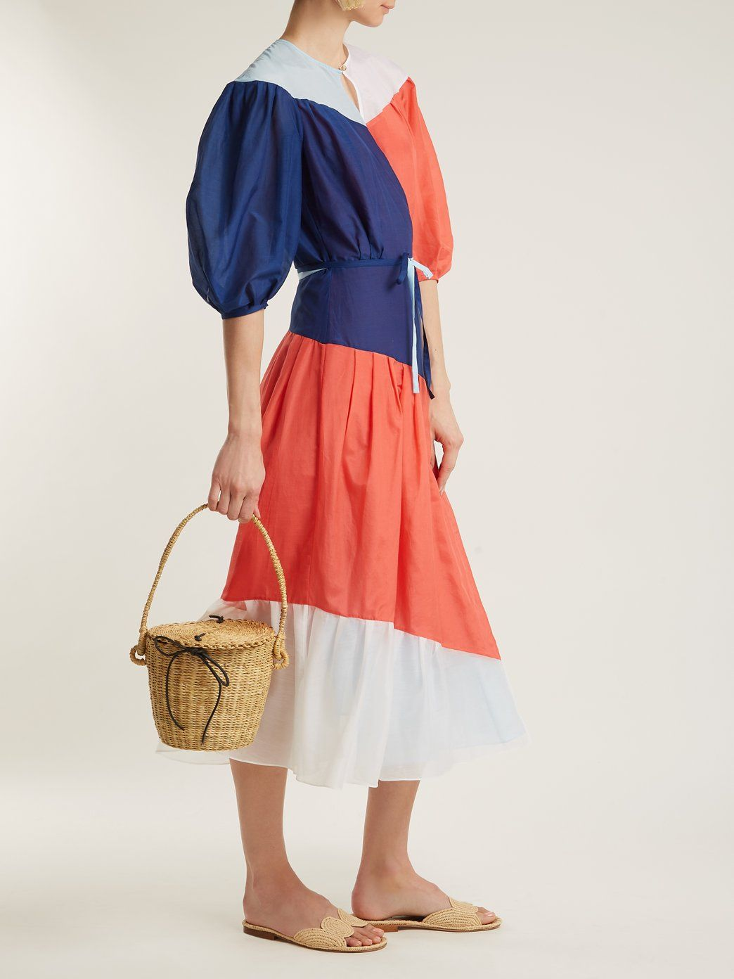 Colour-block puff-sleeved cotton-blend wrap dress ANNA OCTOBER r1o8rbGWQ