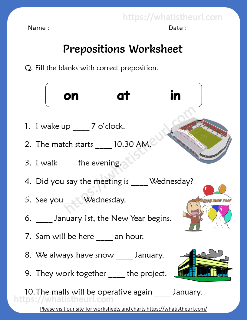 medium resolution of Preposition Worksheets for 4th Grade   Preposition worksheets