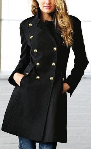 8ce01871773 Black Back Lace-up Double Breasted Wool Coat   Single pieces in 2019 ...