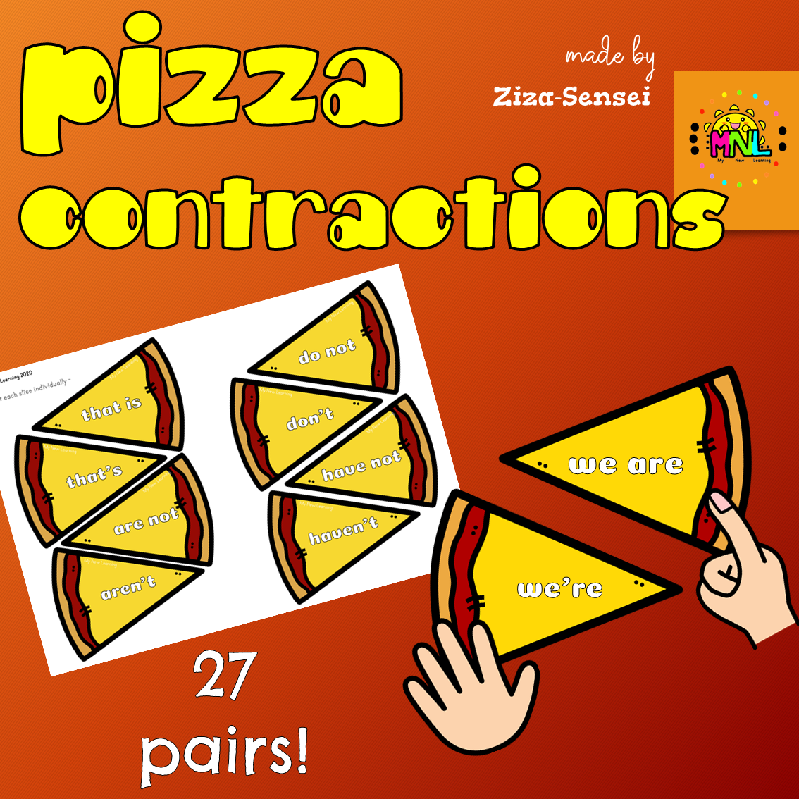 Ela Pizza Contractions Matching Activity And Craftivity In