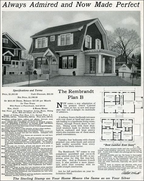 Dutch Colonial Revival 1916 Rembrandt International Mill Timber Sterling System Homes Gambre Dutch Colonial Dutch Colonial Homes Colonial House Plans