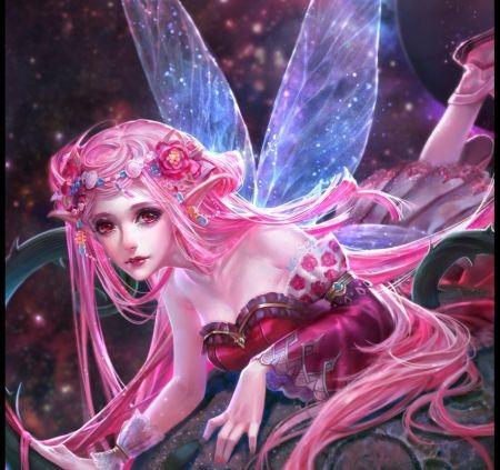 pink fairy - fantasy wallpaper