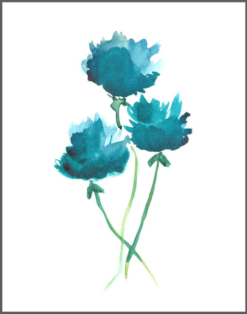 Floral Wall Art, Floral Print, Mimimalist Watercolor ...