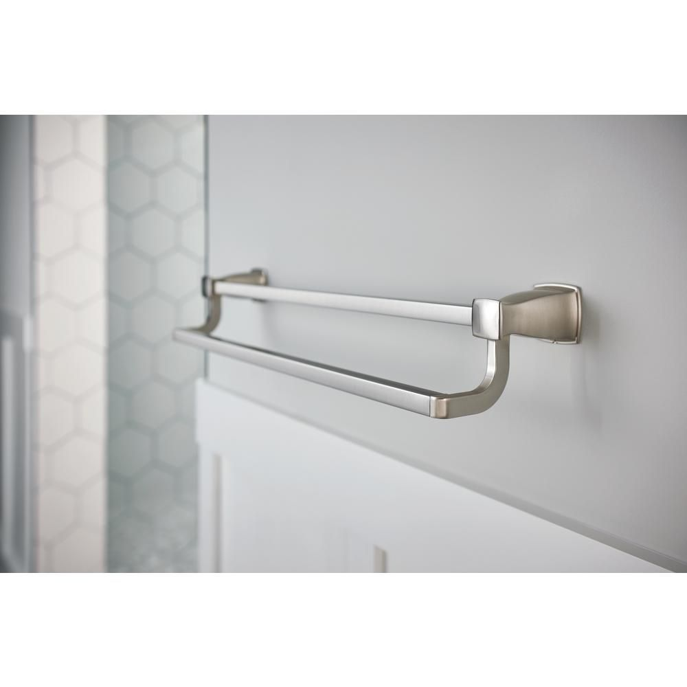Moen Hensley 24 In Double Towel Bar With Press And Mark In Brushed Nickel My3522bn The Home Depot In 2021 Towel Bar Double Towel Bar Bathroom Towel Bar