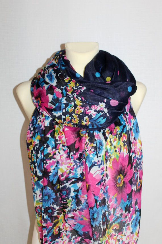 Floral Scarf with Polka Dot  Fashion Scarf  Blue by TrendyCave, $17.00