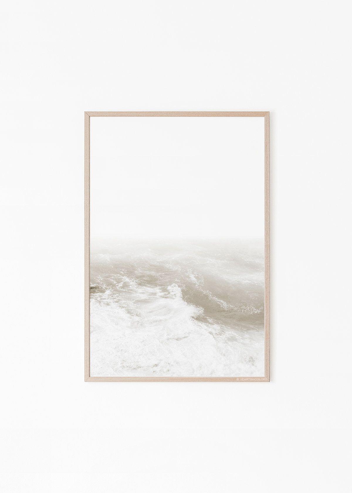 Pale Ocean Print Ocean Waves White Beige Muted Ocean Print Waves